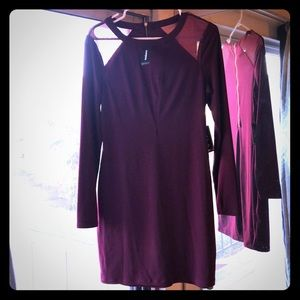 Express Holiday Dress Sheer Burgundy Size M